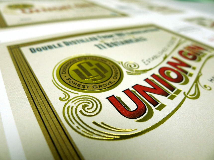 Union Gin label
